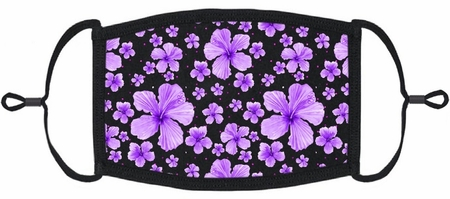 Purple Hibiscus Fabric Face Mask