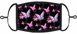 YOUTH SIZE - Pink & Purple Butterflies Fabric Mask