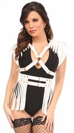 2 PC White & Gold Vegan Leather Fringe Harness Set