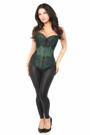 Lavish Dark Green Brocade w/Black Eyelash Lace Overbust Corset - IN STOCK