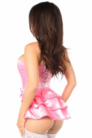 Lavish Pink Satin Corset w/Removable Snap on Skirt - IN STOCK
