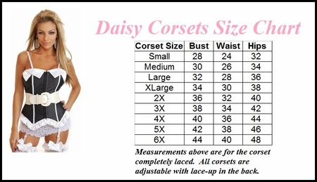 Daisy Corsets Size Chart (ABOVE)