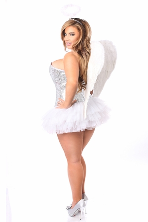 Top Drawer 4 PC Silver Sequin Angel Corset Costume