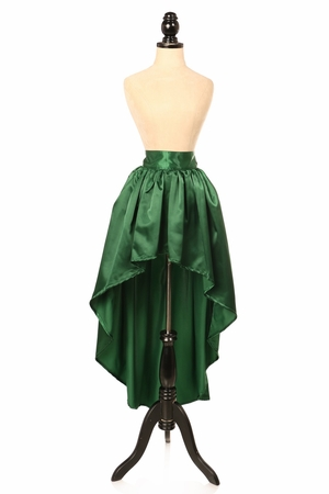 Dark Green Satin High Low Skirt
