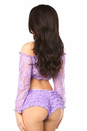 Lilac Sheer Lace Long Sleeve Peasant Top - IN STOCK