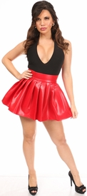 Red Faux Leather Pleated Skirt