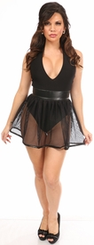 Black Fishnet & Faux Leather Pleated Skirt