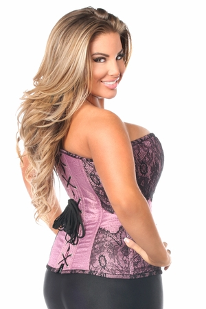 Top Drawer Purple Brocade Steel Boned Corset w/Black Eyelash Lace - IN STOCK