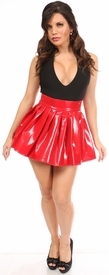 Red Patent Pleated Skirt