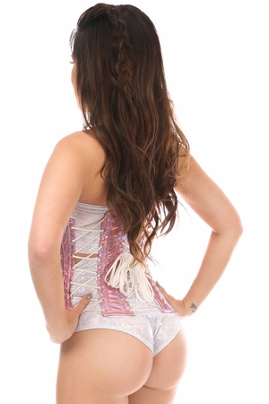 Top Drawer Pink Holo Under Bust Corset w/Lacing all around - IN STOCK