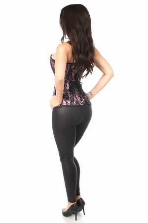 Lavish Pink Lace Front Zipper Corset - IN STOCK