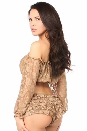 Beige Lined Lace Long Sleeve Peasant Top - IN STOCK