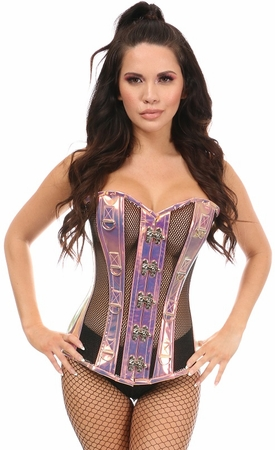 Top Drawer Rainbow Holo & Black Fishnet Steel Boned Over Bust Corset