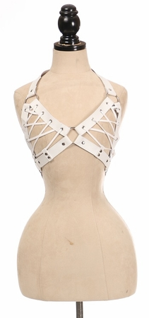 White Faux Leather Lace-Up Bra Top - White