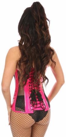 Top Drawer Hot Pink Patent & Black Fishnet Steel Boned Over Bust Corset - IN STOCK