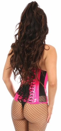 Top Drawer Steel Boned Hot Pink Patent & Fishnet Under Bust Corset