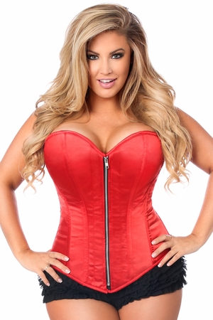 Top Drawer Plus Size Red Satin Steel Boned Corset