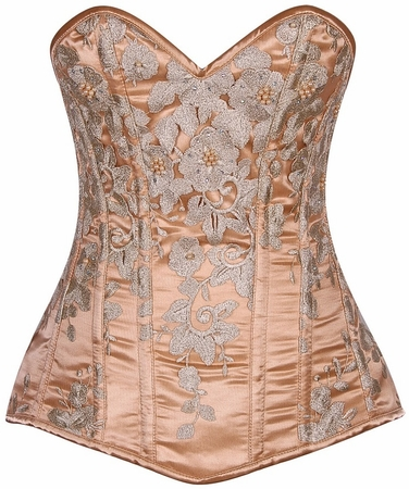 Top Drawer Elegant Gold Floral Embroidered Steel Boned Corset