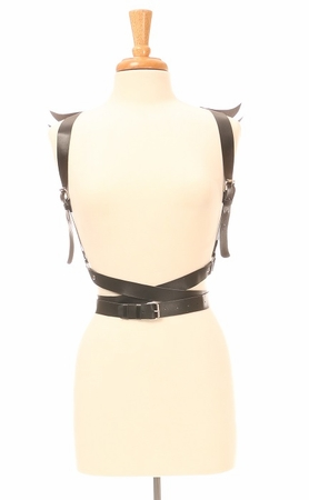 Matte Black Vegan Leather Body Harness w/Wings - IN STOCK