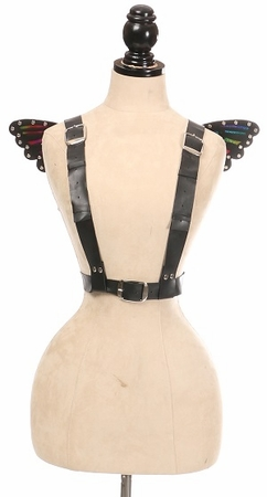 Vegan Leather & Rainbow Small Butterfly Wing Harness - IN STOCK