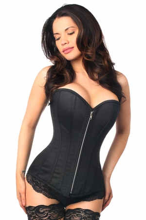 Top Drawer Black Cotton Steel Boned Corset w/Zipper - IN STOCK