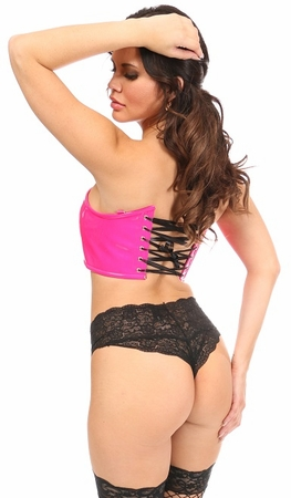 Lavish Hot Pink Patent Short Bustier Top - IN STOCK