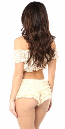 Cream Sheer Lace Short Sleeve Peasant Top - IN STOCK