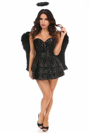 Top Drawer 4 PC Sequin Dark Angel Corset Costume