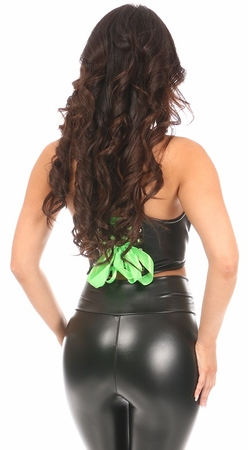Lavish Black/Neon Green Faux Leather Lace-Up Short Bustier Top - IN STOCK