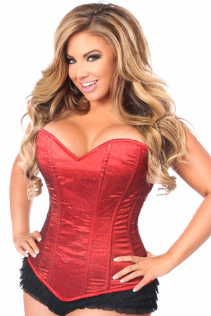 Lavish Red Glitter Side Zipper Corset - IN STOCK