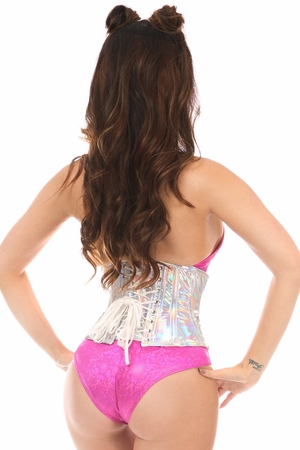 Top Drawer Silver Holo Short Under Bust Corset - IN STOCK