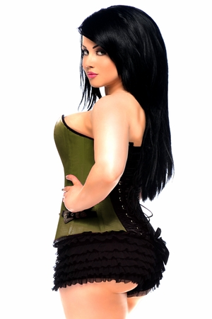 Top Drawer Plus Size Olive Buckle Steel Boned Corset - IN STOCK