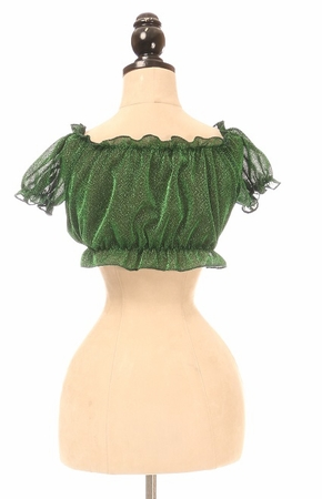 Green Glitter Lace-Up Front Peasant Top - IN STOCK