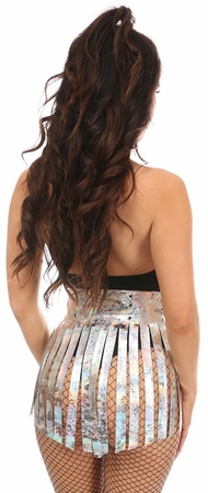 Silver Crackle Holo Fringe Skirt - IN STOCK