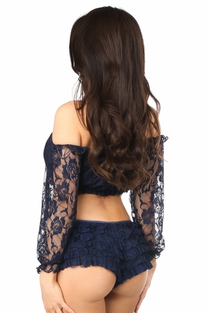 Navy Blue Lined Lace Long Sleeve Peasant Top - IN STOCK