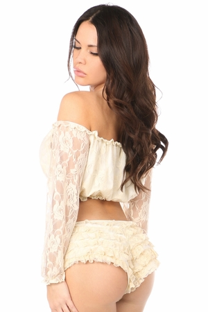 Cream Lined Lace Long Sleeve Peasant Top - IN STOCK