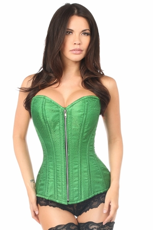 Top Drawer Emerald Green Brocade Steel Boned Corset - IN STOCK