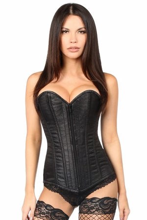 Top Drawer Black Brocade Steel Boned Corset - IN STOCK