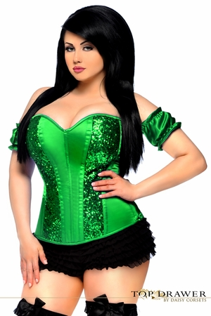 Top Drawer Green Steel Boned Molded Cup Sequin Corset - ON SALE