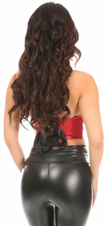 Lavish Red Faux Leather Underwire Short Bustier