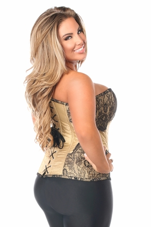 Top Drawer Tan Brocade Steel Boned Corset w/Black Eyelash Lace - IN STOCK