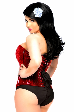 Top Drawer Red Sequin Steel Boned Corset - IN STOCK