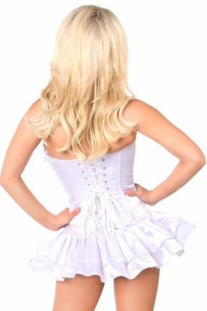 Top Drawer White Satin Steel Boned Corset Dress - IN STOCK