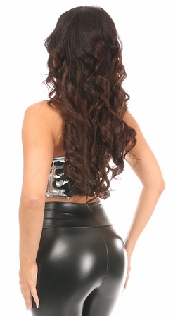 Lavish Silver Metallic Lace-Up Short Bustier Top - IN STOCK