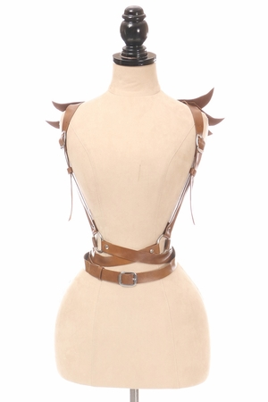 Brown Vegan Leather Body Harness w/Wings (IN STOCK)