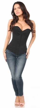 Lavish Black Cotton Overbust Corset - IN STOCK