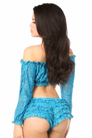 Teal Sheer Lace Long Sleeve Peasant Top - IN STOCK