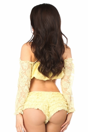 Yellow Lined Lace Long Sleeve Peasant Top - IN STOCK