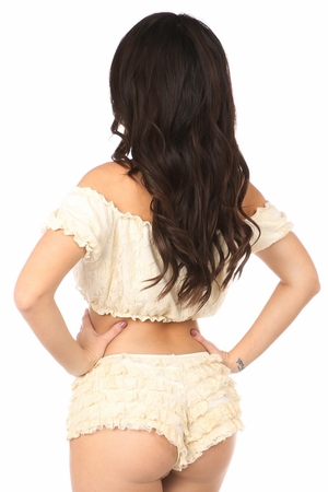 Cream Lined Lace Short Sleeve Peasant Top - IN STOCK