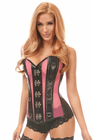 Top Drawer Faux Leather & Fishnet Steel Boned Corset - IN STOCK